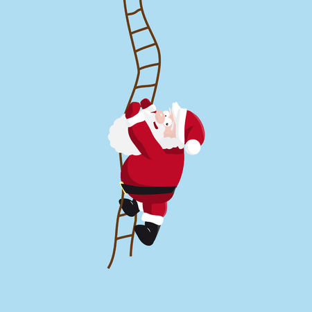 Santa climbs the ladder. Vector illustration