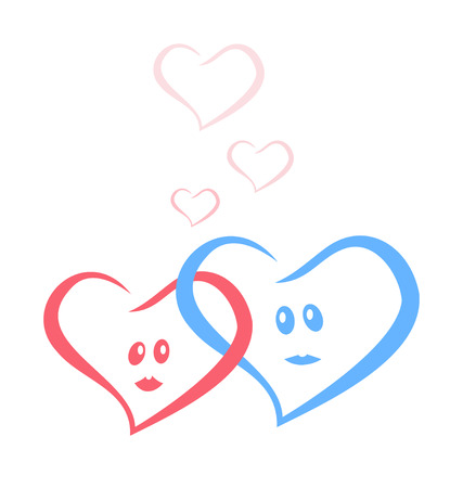 female likeness: blue and red love hearts together. vector illustration