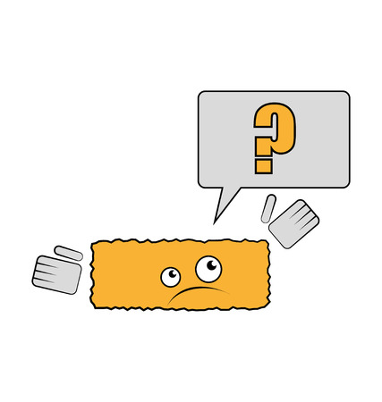 joke brick have a question why he is rectangle. vector illustration