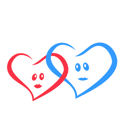 female likeness: logo love hearts together red and blue.vector illustration