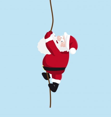 rope vector: Santa on the rope. vector illustration