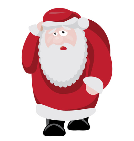 Tired Santa after new years celebration. vector illustration Vector