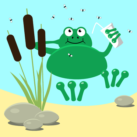 Frog resting swamp reeds and midge. Vector illustration  Vector