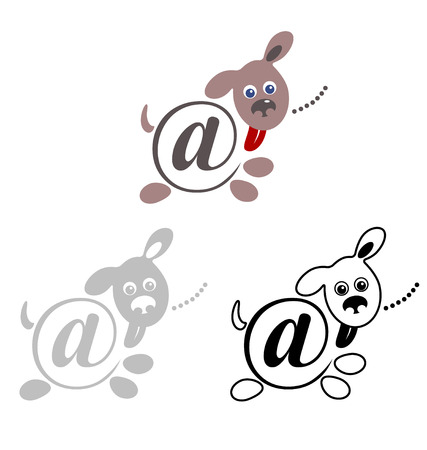 international sign email, animals dog. vector illustration Vector