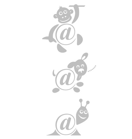 international sign email, animals stamp. vector illustration  Vector