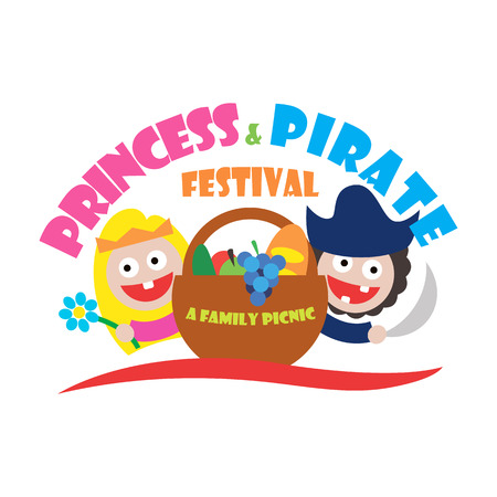 princess and pirate festival a family picnic.   Vector