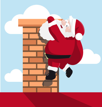 Santa hanging on the chimney. vector illustration