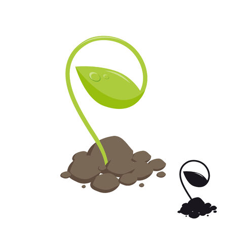 agronomics: young shoot of plants growing in the soil. vector illustration