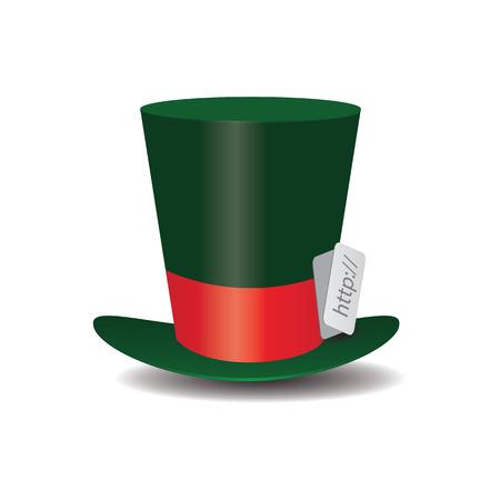 hat top hat: Internet green Hat Mad Hatter vector illustration