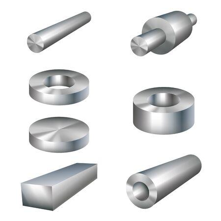 metal parts: steel products metal parts vector illustration