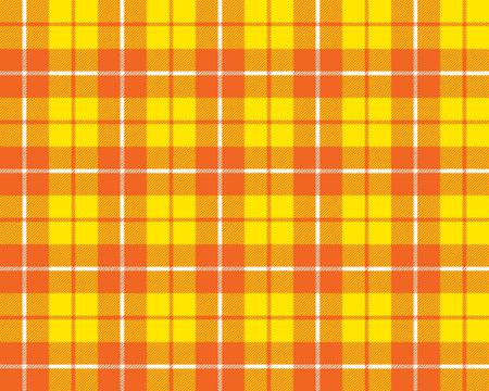 arts culture and entertainment: orange yellow tartan fabric texture pattern seamless vector illustration
