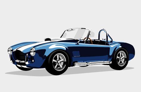 serpiente cobra: Deportivo cl�sico coche azul AC Shelby Cobra Roadster, ilustraci�n vectorial