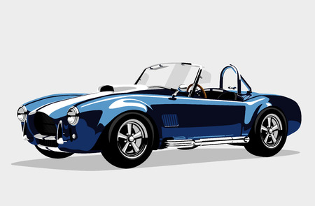 Classic sport blue car AC Shelby Cobra Roadster, vector illustration