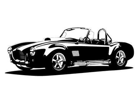 Classic sport silhouette car AC Shelby Cobra Roadster, vector illustration Stock Illustratie