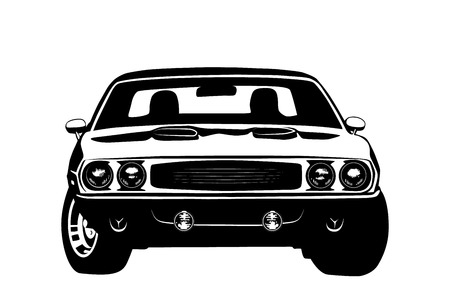 dodge: American muscle car legend silhouette vector illustration