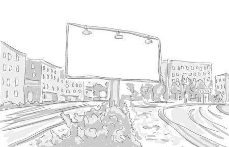 billboard in the city draw graphic design. vector illustration Vector