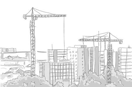 tower crane: building construction tower crane draw graphic design. vector illustration Illustration
