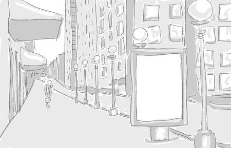 citylight in the city draw graphic design. vector illustration Vector