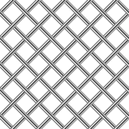 chrome metal grid diagonal seamless background, vector illustration Illustration