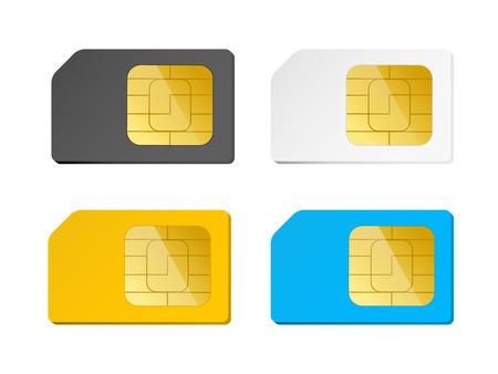 four sim cards black, white, blue, yellow, vector illustration Illustration