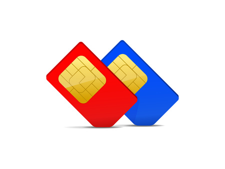two sim card red and blue, vector illustration