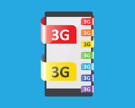3g: 3G connection colors feature, vector illustration