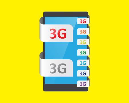 3g: Funci�n de conexi�n 3G, ilustraci�n vectorial