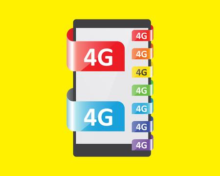 feature: 4G connection colors feature, vector illustration Illustration