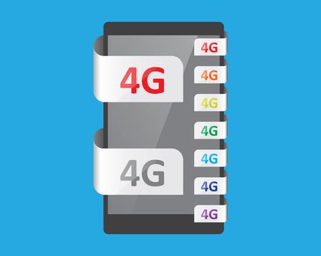 feature: 4G connection feature, vector illustration Illustration