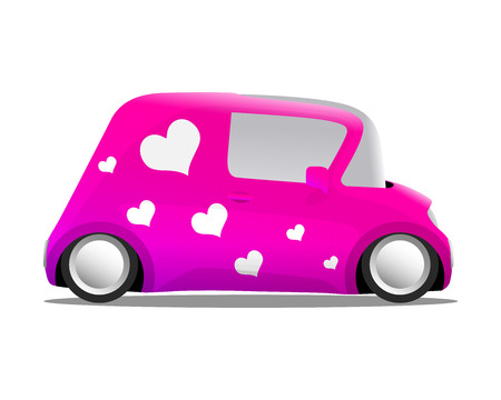 love and heart mini cartoon car pink, vector illustration Vector