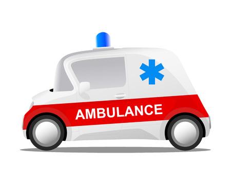 mini auto cartoon ziekenwagen, vector illustratie Stock Illustratie