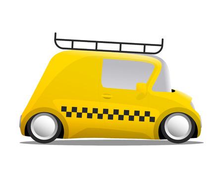 mini car cartoon yellow taxi, vector illustration