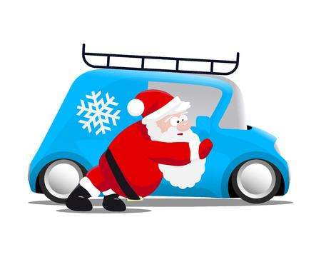 bodywork: Santa pushing a blue mini car, vector illustration