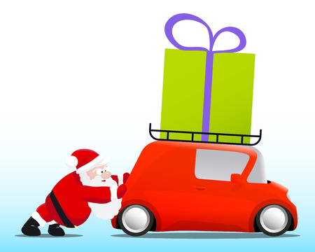 mini car: Santa pushing a red mini car with a gift box, vector illustration