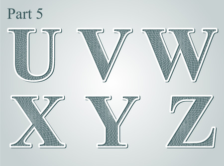 guilloche letters U V W X Y Z vector illustration Illustration