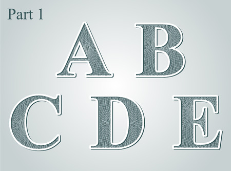 guilloche: guilloche letters A B C D E vector illustration