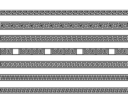the architecture is ancient: different meander ansient element patterns line, vector illustration Illustration