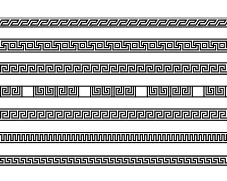 different meander ansient element patterns line, vector illustration Illustration