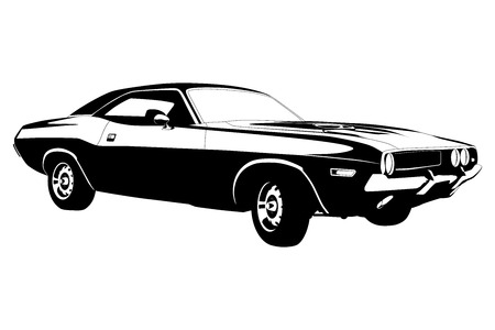 old cars: american muscle car vector illustration