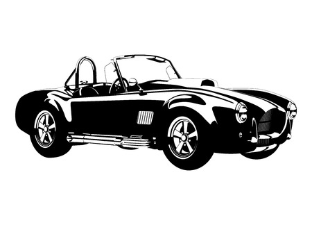 silhouette Classic sport car ac cobra roadster vector illustration Stock Illustratie