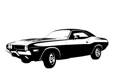 muscle car profile vector illustration Illustration