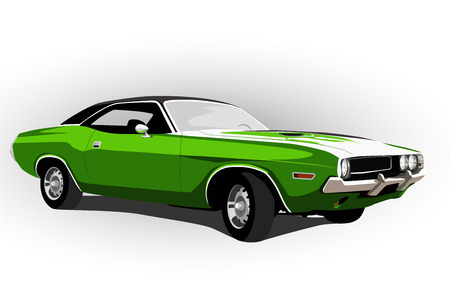 american muscle car green vector illustration