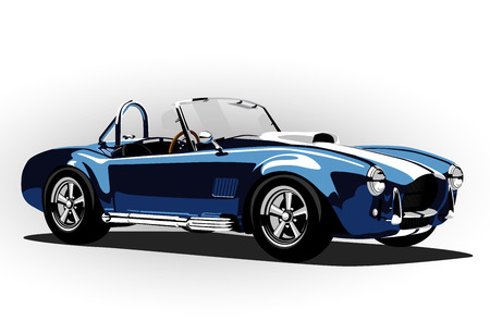 vintage power: classic sport car cobra roadster blue vector illustration Illustration