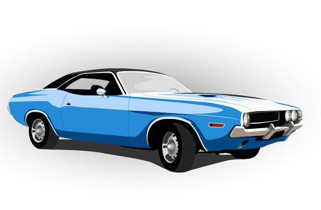 blue classic hot car