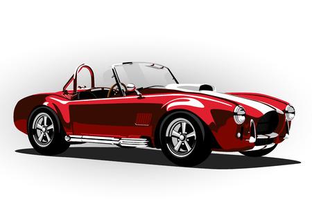 roadster: red classic sport car cobra roadster