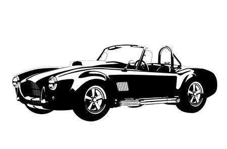 silhouet klassieke sportwagen Stock Illustratie