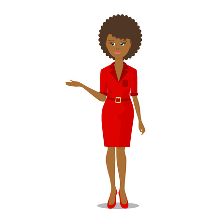black woman: african black woman in red vector illustration