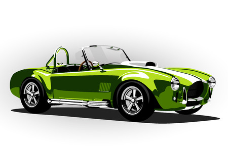 old cars: classic sport car cobra roadster green vector illustration
