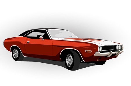 red classic muscle car vector illustration