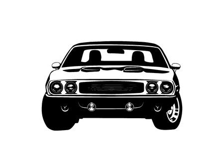 autosport: American muscle car legend silhouette vector illustration
